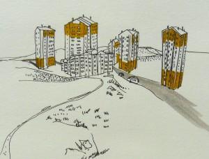 Dans les groupements de TOKI, tout se ressemble, plus de repères, nous tournons en rond. Pas envie de dessiner l'ensemble des immeubles car ils sont tous les mêmes ». Notes de C.C